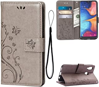Wallet Case for Samsung Galaxy A20E Card Holder Embossed Butterfly Flower PU Leather Magnetic Flip Cover for Samsung Galaxy A20E (Grey)