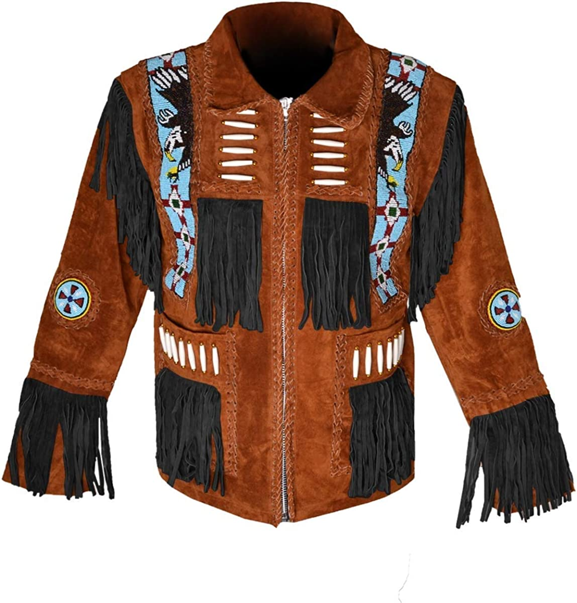 LEATHERAY Western Leather Jackets for Men Cowboy Leather Jacket and Fringe Beaded Coat Suede Leather Shirt