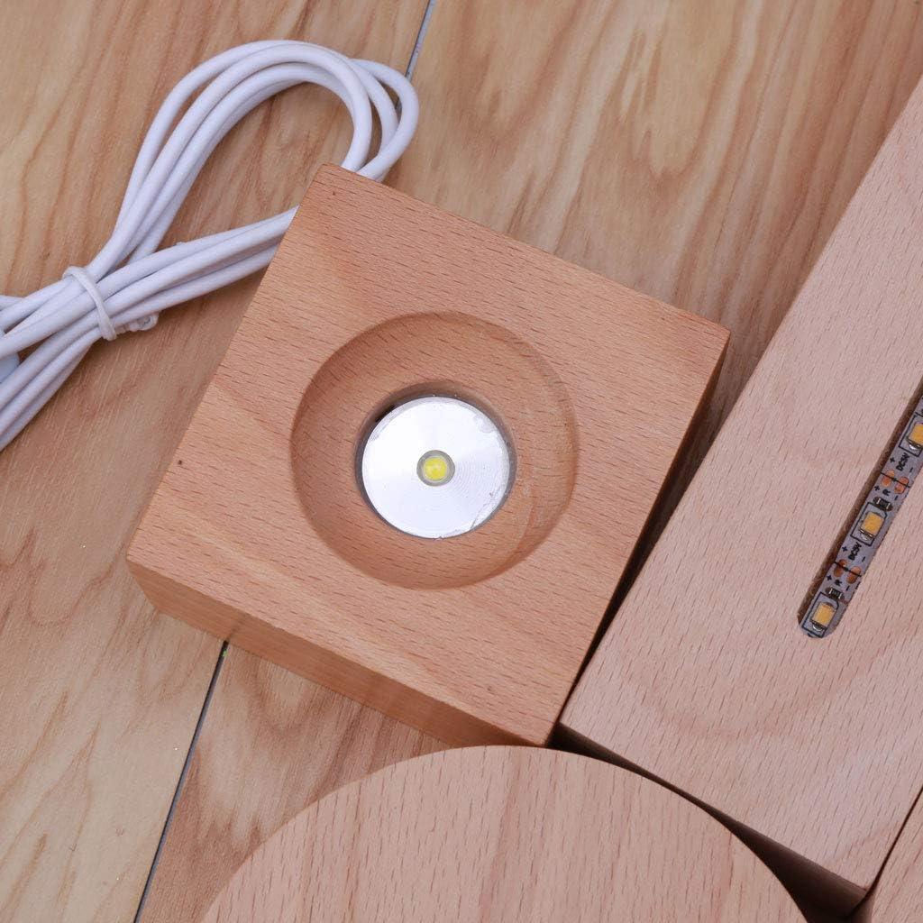 hecho a mano de madera rectangular redonda forma ovalada pantalla LED Base resina arte ornamento madera noche iluminada base artesan/ía KJ-KUIJHFF Herramientas de fabricaci/ón de joyas