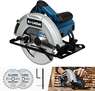 """Circular Saw, GALAXIA 13A 5800RPM 7-1/4"""" Professional Corded Circular Saw with Lightweight Aluminum Guard, 2Pcs Blades (24T+48T) plus 1 Allen Wrench, Max Cutting Depth 2-1/2""""(90°), 1-7/8""""(45°)"""