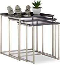 Relaxdays Set of 3 Square Side Tables, Matt Steel Frame, Coffee Tables, MDF, HxWxD: 42x40x40 cm, Black/Silver