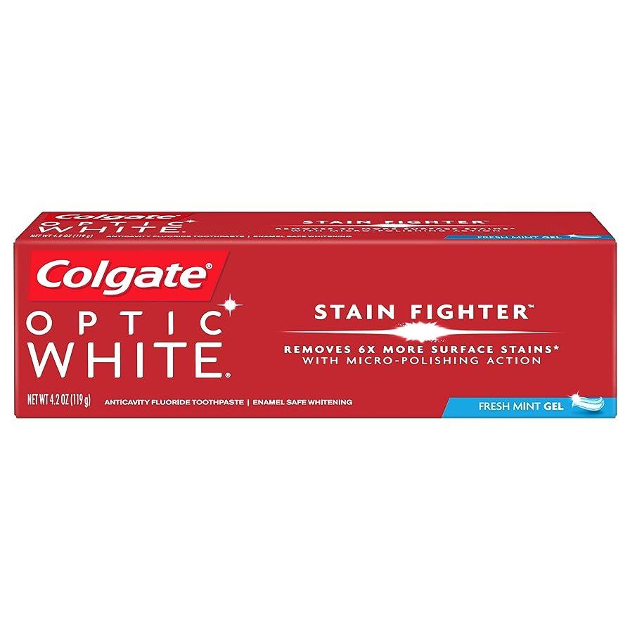 肌火曜日元気なコルゲート ホワイトニング Colgate 119g Optic White STAIN FIGHTER 白い歯 歯磨き粉 ミント (Fresh Mint)
