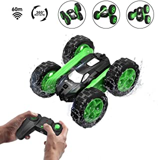 EACHINE Remote Control Car for Kids, EC02 RC 4WD Monster Truck Double Sided Rotating Tumbling Stunt Car - 2.4GHz High Speed Rock Crawler Vehicle with Headlights for Beginner