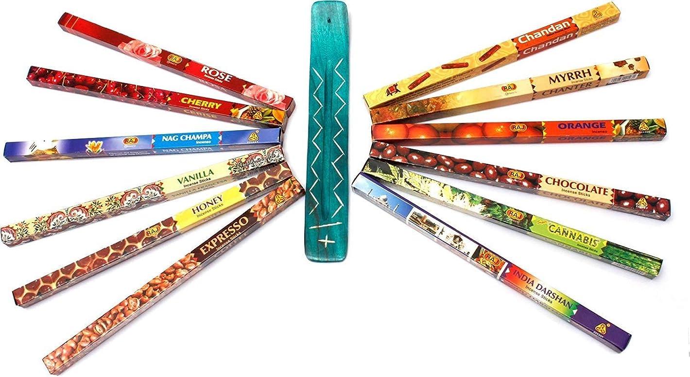 廃止残酷な解くミルラ、サンダルウッド、NAGのチャンパ、フランキンセンス、ラベンダー、大麻、バニラ、および他、SPAR-OFFER:Luxflair香はスティックホルダーincl.incense 12のフレグランススティック