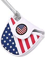 HDE Mallet Putter Cover with Magnetic Closure 2 Ball Leather Headcover Club Protector for Odyssey Taylormade Scotty Cameron Tommy Armour Ping and Callaway Clubs