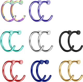 Liuxn Piercing ad Anelli Naso in Acciaio Inox Cerchio di Naso Gioielli Piercing al Corpo, 20 Gauge, 5/16 Pollici, 16 Pezzi
