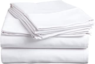 100% Premium Combed Cotton, 300 Thread Count; Deep-fitting pocket, Soft & Smooth 4-Piece California King Sheet Set, Solid White