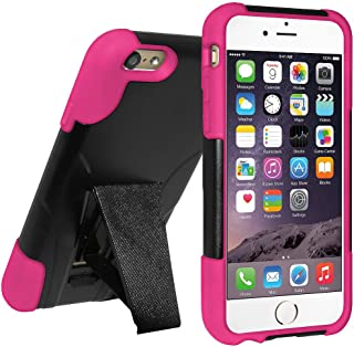 Amzer Double Layer Hybrid Case Cover with Kickstand for Apple iPhone 6, iPhone 6s - Retail Packaging - Black/Hot Pink
