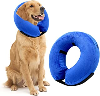 NEWBEA Soft Protective Inflatable Dog Cone Collar for Medium/Large Dogs and Cats Adjustable Soft Pet Recovery Collar E-Collar Designed to Prevent Pets from Touching Stitches