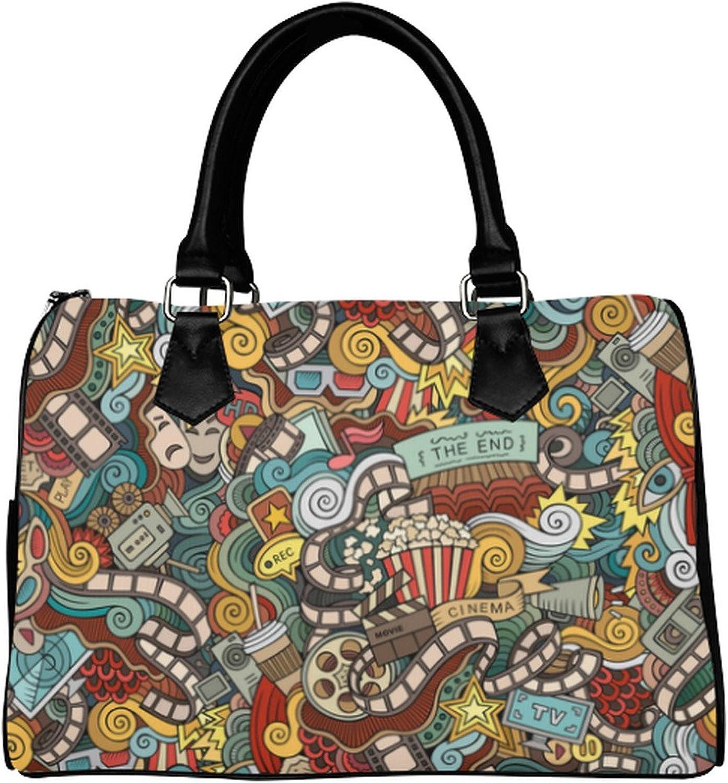 Yourfantasia Cartoon Doodles Cinema Movie Film Boston Bag Handbag
