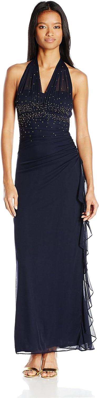 Blondie Nites Womens Illusion Halter Neckline Long Gown Dress