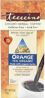 Teeccino Chicory Coffee Alternative – Orange - Herbal Coffee | Ground Coffee Substitute | Prebiotic | Caffeine Free | Acid Free | Medium Roast, 11 Ounce