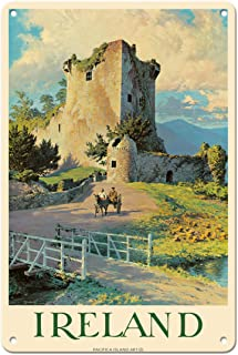 Pacifica Island Art Ireland - Ross Castle, Killarney - Vintage Travel Poster by William Medcalf c.1959-8in x 12in Vintage ...