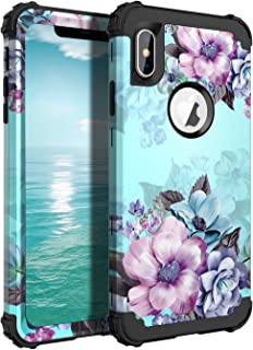 Casetego Compatible iPhone X/Xs Case,Floral Three Layer Heavy Duty Hybrid Sturdy Armor Shockproof Full Body Protective Cover Case for Apple iPhone X/Xs,Blue Flower