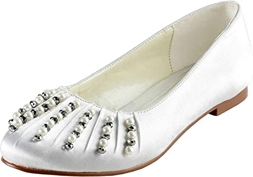 ZHRUI GYMZ688 damases Abalorios de satén Fiesta de la Noche de Baile Nupcial zapatos de Boda Bombas Sandalias Flatfs (color   blanco-1.5cm Heel, tamaño   6 UK)