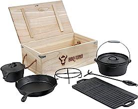 BBQ-Toro Dutch Oven Set in Holzkiste mit Dutch Oven und mehr | Gusseisen - bereits eingebrannt 7-teilig