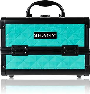 SHANY Mini Makeup Train Case Cosmetics Organizer with Mirror, Turquoise, 2.75 Pound