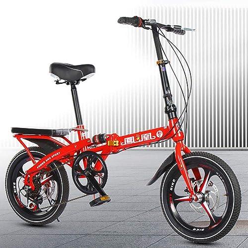 calidad garantizada Unisexo Bicicleta Plegable de suspensión 20 20 20 Pulgadas Freno de Disco Doble 7 Velocidad Rueda Integral Estudiante Niño Ciudad del Viajero Bicicleta,rojo  venderse como panqueques