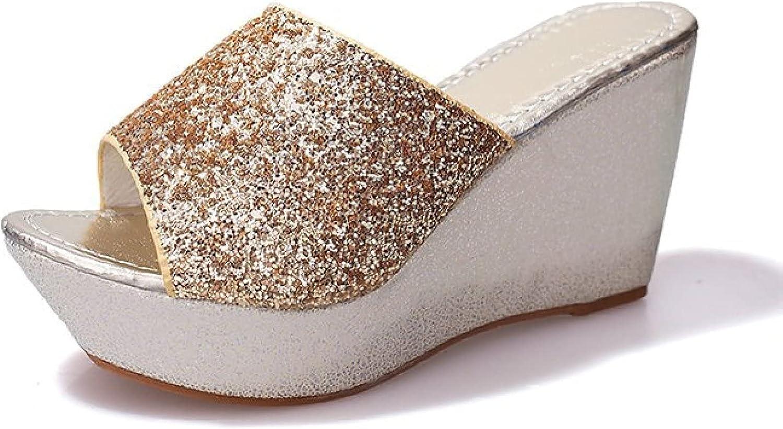 Btrada Slide Wedge Sandals for Women Anti-Slip Peep Toe Slip On Platform Sandal Beach Slippers Lightweight Summer Shoes
