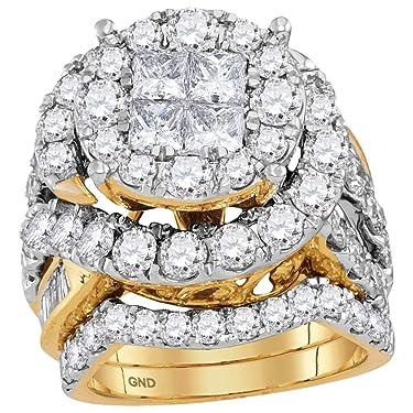 14kt Yellow Gold Womens Princess Diamond Bridal Wedding Engagement Ring Band Set 5-5/8 Cttw for Women