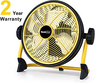 Geek Aire Rechargeable Outdoor High Velocity Floor Fan,10'' Portable 7800mAh Battery Operated Fan with Metal Blade,360°Vertical Tilt, 24 h Run Time Cordless Fan for Camping Travel Tent Hurricane Home