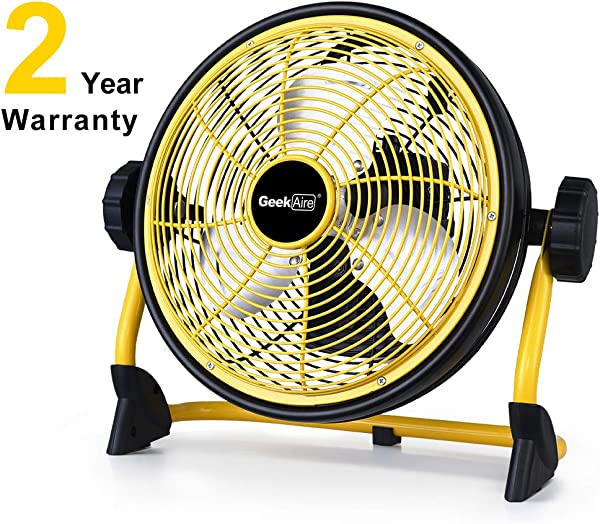 Geek Aire Rechargeable Outdoor High Velocity Floor Fan 10 Portable 7800mAh Battery Operated Fan With Metal Blade 360 Vertical Tilt 24 H Run Time Cordless Fan For Camping Travel Tent Hurricane Home