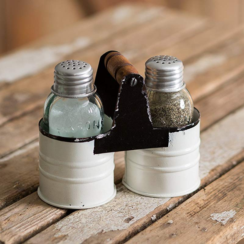 Salt And Pepper Can Caddy White By Colonial TinWorks