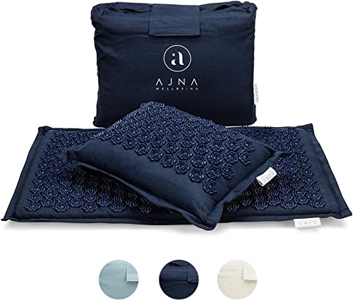 Ajna Acupressure Mat and Pillow Set - Ideal for Back Pain Relief and Neck Pain Relief - Advanced Stress Reliever - Mu...