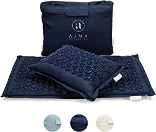 Ajna Acupressure Mat and Pillow Set - Ideal for Back Pain Relief and Neck Pain Relief - Advanced Stress Reliever - Muscle Relaxant - Free Tote Bag