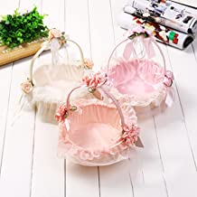Wedding Flower Baskets, Portable Rattan Woven Blue, Flower Girl Scatter Storage Basket Portable Flower Basket Korean Petal...