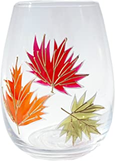 Hand Painted Leaf Stemless Wine Glass