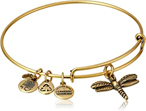 Alex and Ani Women's Dragonfly Charm Bangle Rafaelian Gold Finish One Size