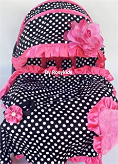Rosy Kids Infant Carseat Canopy Cover 4pc Whole Caboodle, Baby Car Seat Cover Baby Blanket Outdoor Kit, Black Ground Polka Dot Hot Pink