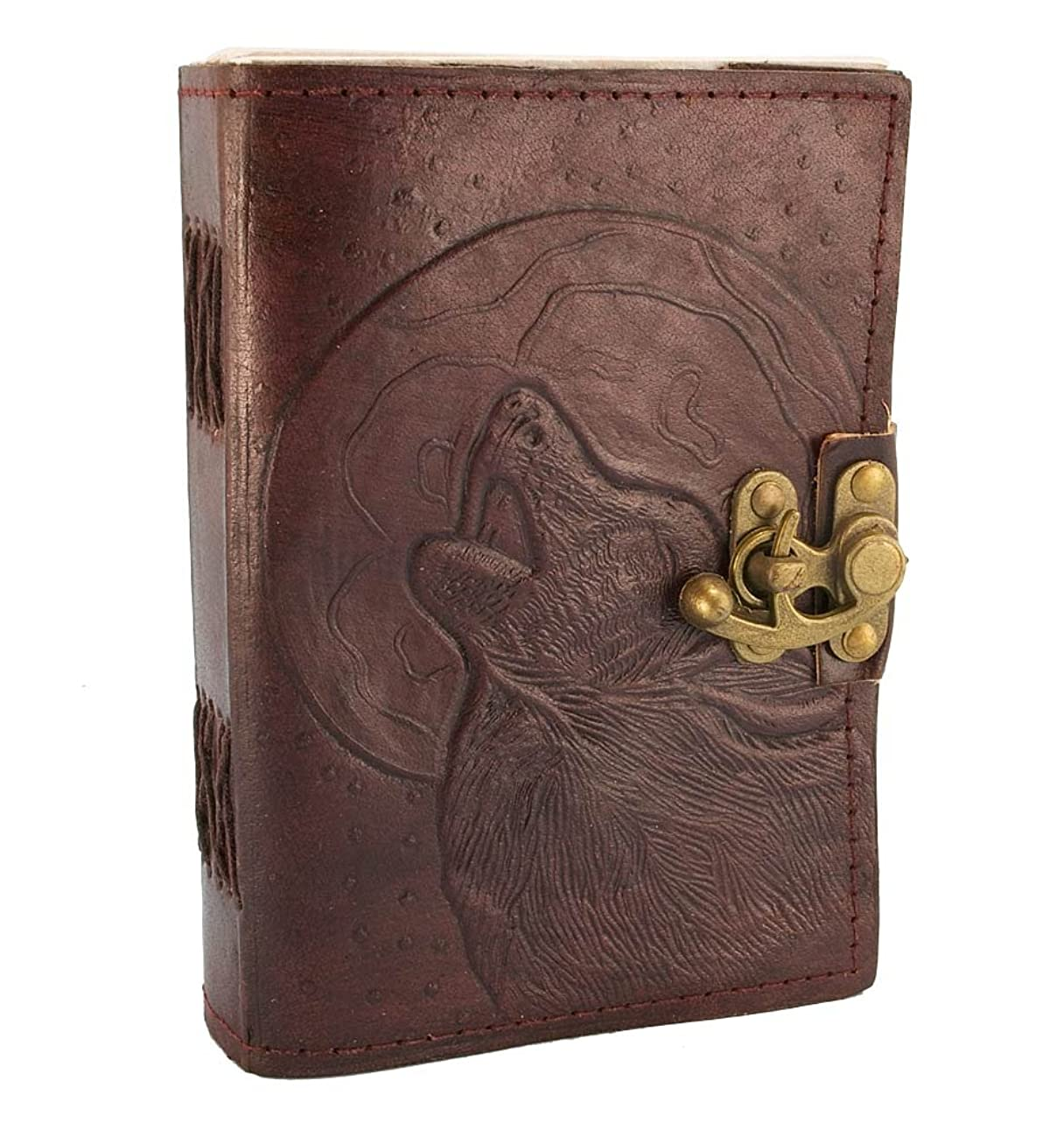Hand Tooled Blank Leather Journal Embossed Howling Wolf Diary