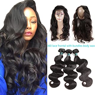 Ashimary 8A Malaysian Virgin Hair with Frontal 360 Lace Frontal with Bundles Body Wave Bundles with 360 Frontal Closure with Bundles Malaysian Body Wave with Frontal (16 18 20 +14 360Frontal)