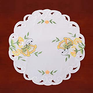 Simhomsen Embroidered Butterfly Round Small Table Doilies for Spring and Summer, Centerpieces, Set of 4 (Yellow, Diameter 15.5-inch)