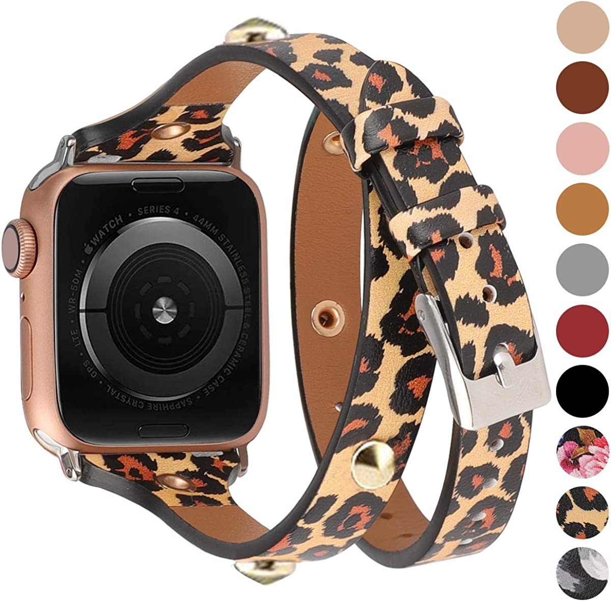 Moolia Compatible with Apple Watch Band 41mm 38mm 40mm 45mm 42mm 44mm for Women, Slim Leather Double Wrap Around Strap Replacement Wristband for iWatch Series SE 7 6 5 4 3 2 1 Sport Edition
