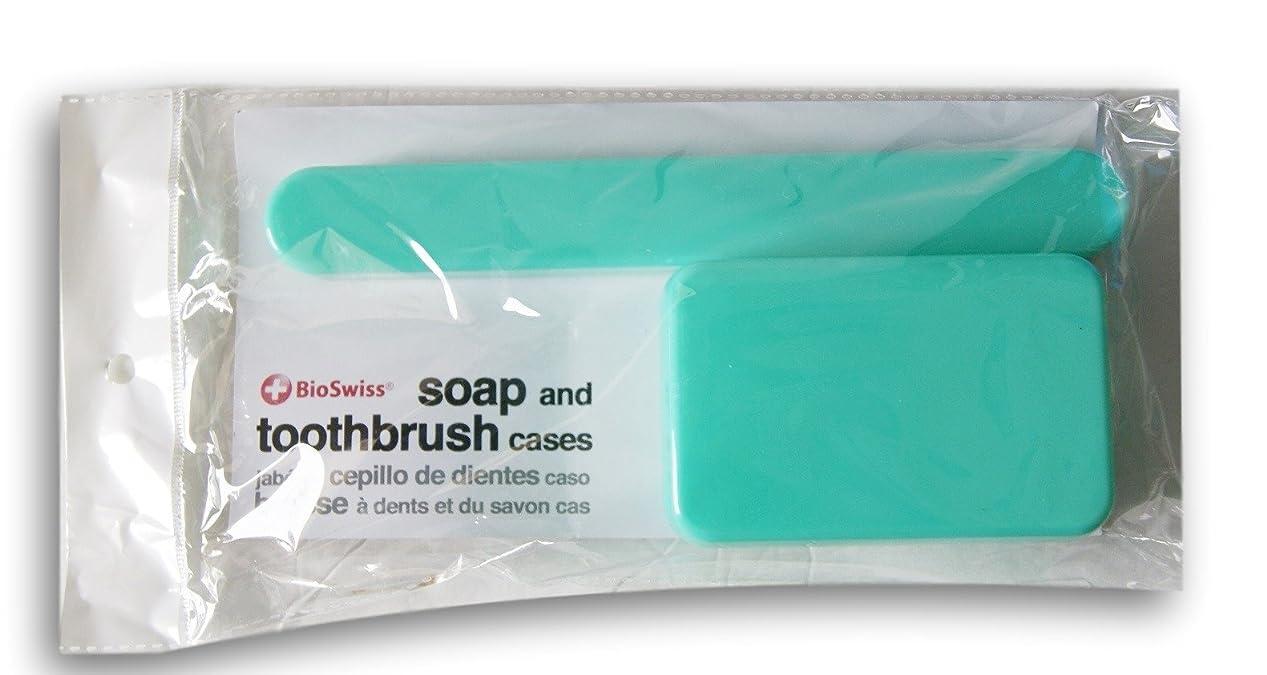 ネコ強調するバンケットBioSwiss Soap、歯ブラシTravel Cases ブルー