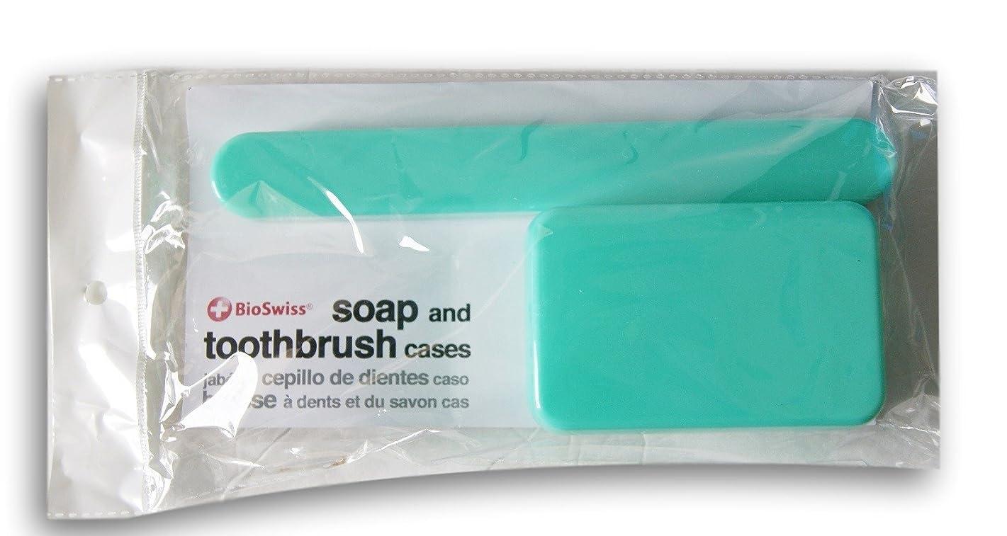 一時解雇するカーフ屈辱するBioSwiss Soap、歯ブラシTravel Cases ブルー