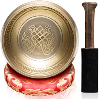 """CAHAYA Tibetan Singing Bowl Set Meditation Sound Bowl with 1 Cushion & 1 Mallet 4.3"""" Handcrafted in Nepal for Yoga, Healin..."""