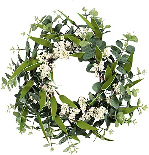 new arrival OPTIMISTIC 18In Eucalyptus Wreath with Flower for Front Door, Green Spring lowest Wreath Hanging Decoraion, Farmhouse sale Decor Eucalyptus Wreath, Indoor Outdoor Decorative Wreath,Multi Color online sale