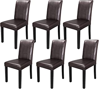 SUPER DEAL Solid Wood Leatherette Padded Parson Dining Chair, Waterproof & Oilproof Stretch Kitchen Dining Room Chairs, Espresso (6)