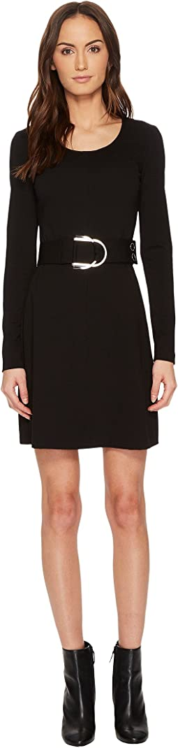 Versace Jeans - Long Sleeve Scoop Neck Belted Dress