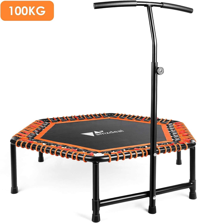 Amzdeal Fitness Trampolin Indoor Trampolin für Jumping mit hhenverstellbarem T-frmigem Haltegriff für Kinder und Erwachsene Fitness