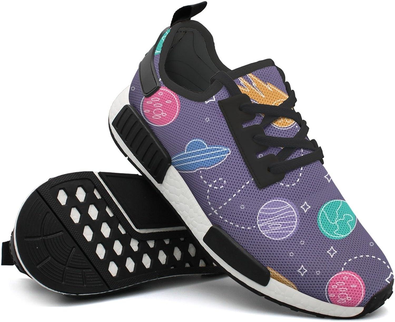 Fashion Sneaker For Men Cartoon Spaceship Earth Pattern Print Lightweight Breathable Mesh Mens Walking shoes