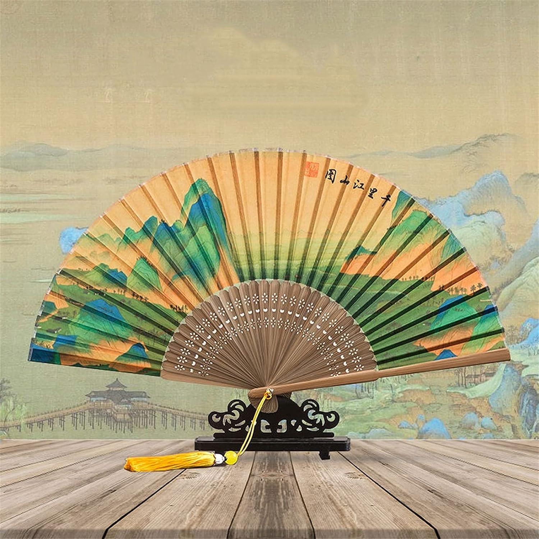 Abanico Estilo chino Hombres y mujeres Papel de arroz de seda Miles de millas Montañas y ríos Mapa Mapa Mapa Ventilador antiguo estilo clásico arte plegable ventilador regalo bambú ventilador chino ca