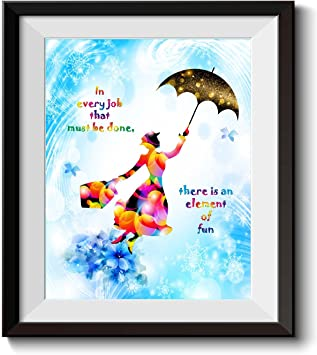 Uhomate Mary Poppins Quotes In Every Job That Must Be Done Quote Home Canvas Prints Wall Art Inspirational Quotes Wall Decor Living Room Bedroom Artwork C028 11x14 Posters Prints Amazon Com