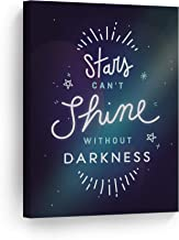 Stars Can't Shine Without Darkness Quote Neon Letters Motivational Wall Art Canvas Print Inspirational Home Decor Stretched Ready to Hang-%100 Handmade in The USA- 12x8