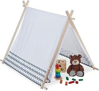 Relaxdays 10035301 Tipi-tält för barn, med fönster, barnrumstält, Wigwam barntält, H x B x D: 92 x 120 cm, vit-grå