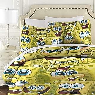 PSnsnX SpongeBob Face Kids 3 Piece Reversible Bedding Set, Full Queen With Pillow Shams For Teens Boys Girls,NO Comforter